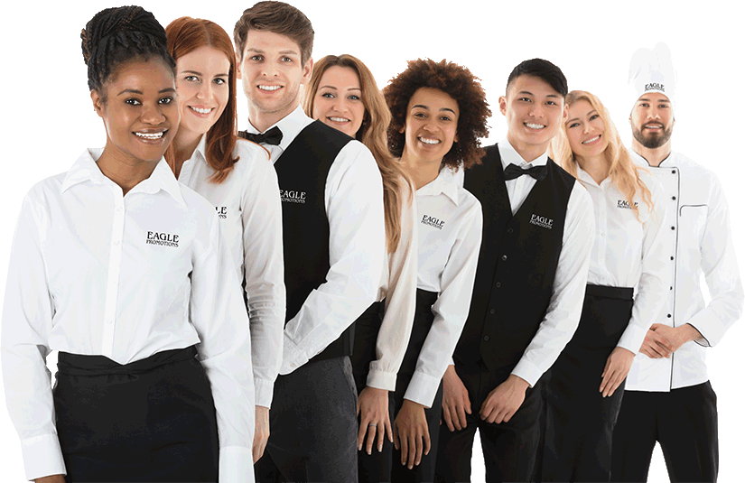 Employees wearing uniforms