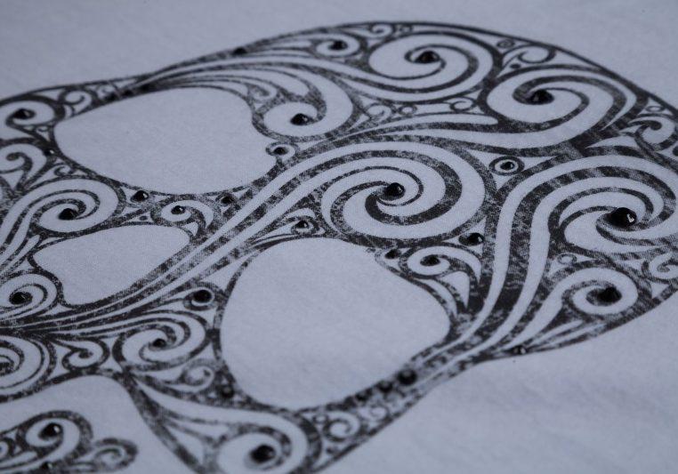 Custom Skull logo with Distressed Screen Printed logo with Black Rhinestone embellishments